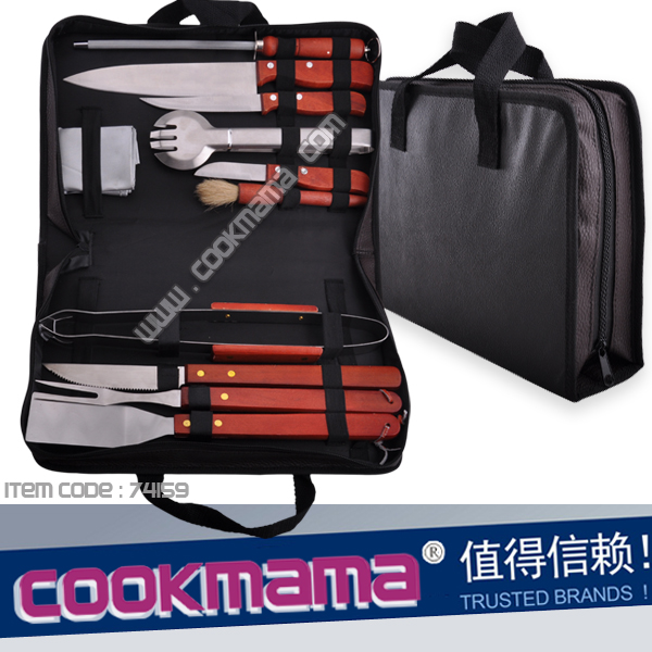 11pcs wood handle knife set and bbq tools with carry bag