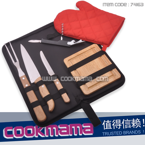 6-piece Stainless steel bbq fork and knife in nylon bag